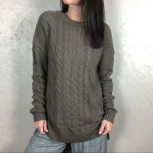 BDG Brown Cable Knit Sweater with Elbow Patches
